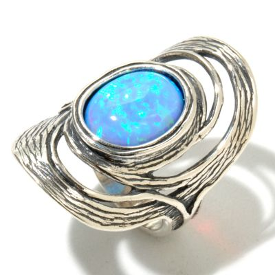 129-980 - Passage to Israel Sterling Silver 12 x 10mm Simulated Blue Opal Elongated Ring