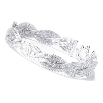 129-990 - SempreSilver™ 8'' Textured & Twisted ''Calza'' Bracelet