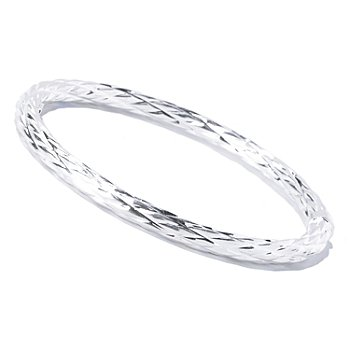 129-991 - SempreSilver™ Textured Slide-on Bangle Bracelet