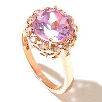 129-997 - Gem Treasures 14K Rose Gold 3.56ctw Kunzite & Diamond Round Ring
