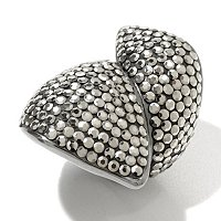 SS SWAROVKSI MARCASITE LEAF RING W/ BLACK RHODIUM