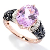 14K RG OVAL KUNZITE AND BLK SPINEL RING w/DIAMOND ACCENTS
