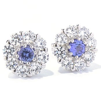 130-011 - Sonia Bitton Platinum Embraced™ Tanzanite & Brilliante® Flower Stud Earrings