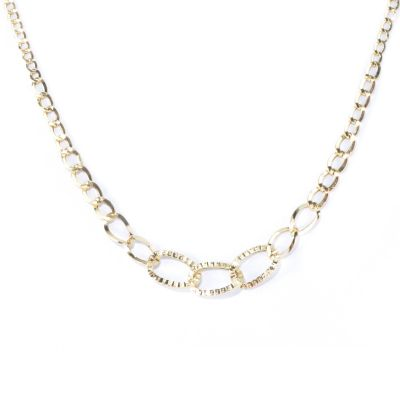 "130-018 - Italian Designs with Stefano 14K Gold 18"" Graduated Curb Link Necklace"
