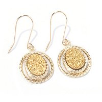 PREZIOSA COLLECTION EARRINGS/ GOLD DRUSY