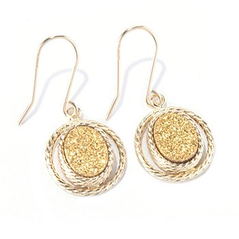 130-023 - Italian Designs with Stefano 14K Gold 9 x 7mm Golden Drusy Drop Earrings
