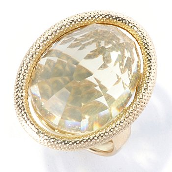 130-026 - Italian Designs with Stefano 14K Gold 12.72ctw Lemon Quartz Textured Ring