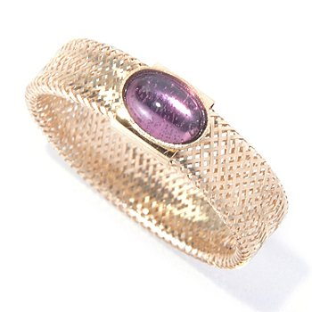 130-027 - Italian Designs with Stefano 14K Gold Amethyst Woven Stretch Mesh Ring