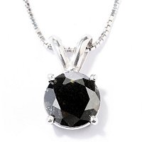 SS 1CT BLACK DIAMOND PENDANT