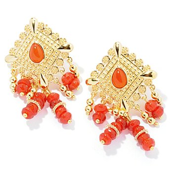 130-036 - Jaipur Bazaar Gold Embraced™ 1.75'' Red Agate Textured Ornate Drop Earrings