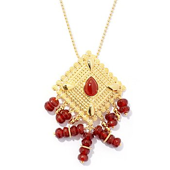 130-037 - Jaipur Bazaar Gold Embraced™ Red Agate Ornate Pendant w/ 20'' Chain