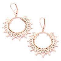 SS/18KGP EAR FILIGREE SUN DANGLE