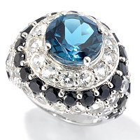 SS DOME RING W/BLK SPINEL AND LONDON BLUE &WHITE TOPAZ