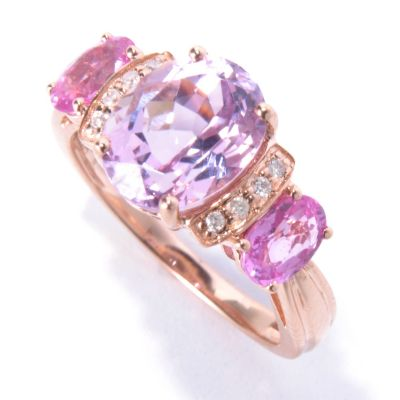 130-049 - Gem Treasures 14K Rose Gold 4.03ctw Kunzite, Sapphire & Diamond Three-Stone Ring