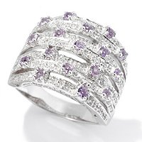 SS 7 ROW BAND WITH WHITE AND PURPLE SAPPHIRE