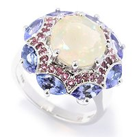 SS FANCY CUT ETHEOPLIAN OPAL WITH TANZ/PINK TOURM RING