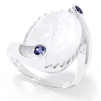 130-058 - Gem Insider Sterling Silver 18 x 11mm Oval Blue Moonstone & Iolite Ring