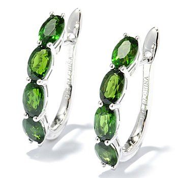 130-059 - Gem Treasures Sterling Silver 4.27ctw Oval Chrome Diopside Hoop Earrings