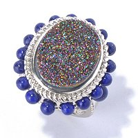 SS MYSTIC DRUSY WITH LAPIS ACCENT RING