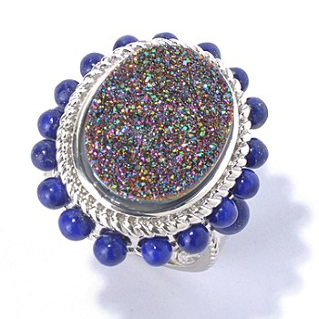 130-063 - Gem Insider Sterling Silver 18 x 13mm Oval Mystic Drusy & Lapis Ring