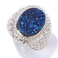 SS SEA BLUE DRUSY RING