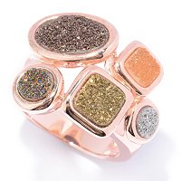 SS/14K RG EMBRACED RING MULTI COLOR DRUSY