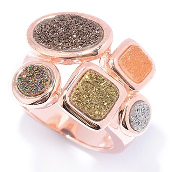 130-067 - Gem Insider 14K Rose Gold Embraced™ Multi Color Drusy Ring