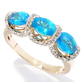 130-068 - Gem Treasures 14K Gold 1.73ctw Neon Blue Apatite & Diamond Three-Stone Ring