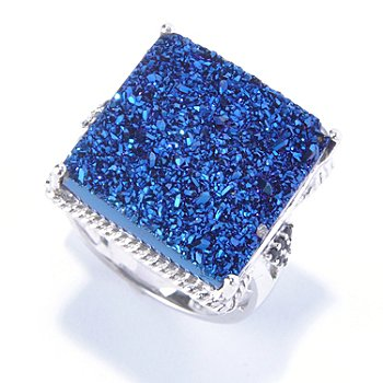130-069 - Gem Insider Sterling Silver 18mm Blue Drusy & Sapphire Square Ring