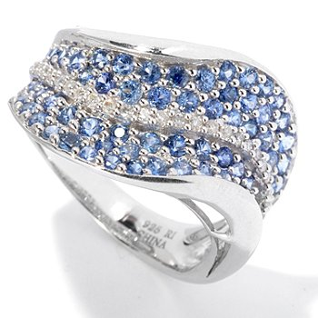 130-071 - Gem Treasures Sterling Silver 1.80ctw Sapphire & Diamond Pave Wave Ring