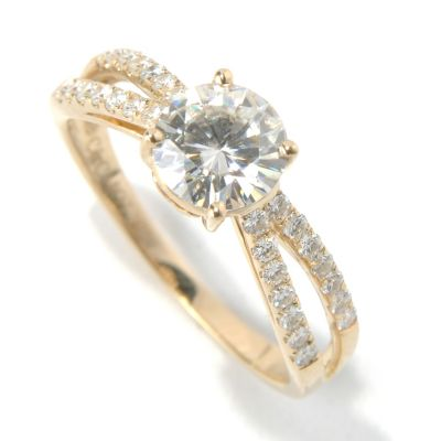 130-085 - Estrella Moissanite 14K Gold 1.20 DEW Round Cut Split Shank Ring
