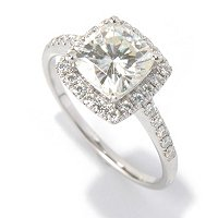 MOI 14K WG CUSHION CUT HALO RING