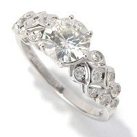 MOI 14K WG ROUND CUT RING W/ FANCY BURNISHED SET SHANK RING (7MM)