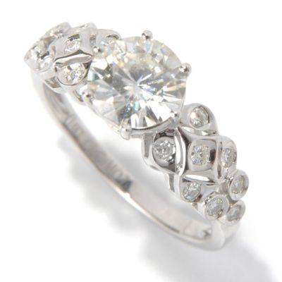 130-088 - Estrella Moissanite 14K White Gold 1.36 DEW Fancy Shank Ring