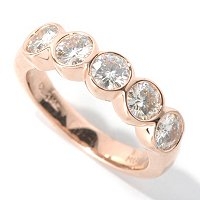 MOI 14K ROUND CUT 5 STONE BEZEL SET RING (4MM)