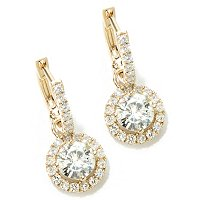 MOI 14K WG ROUND CUT HALO DROP EARRINGS (5.5MM)