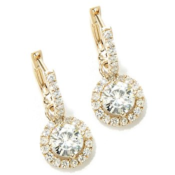 130-093 - Estrella Moissanite 14K White Gold 1.82 DEW Halo Drop Earrings