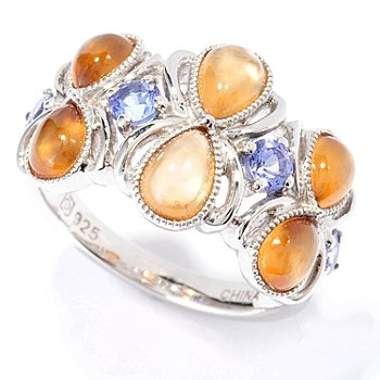 130-101 - Gem Insider Sterling Silver 3.83ctw Hessonite & Tanzanite Band Ring