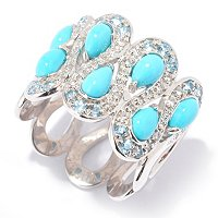SS TURQUOISE RING WITH SWIRL DESIGN