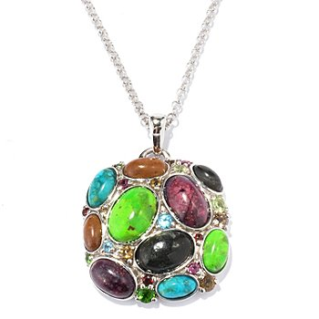 130-104 - Gem Insider Sterling Silver 10.01ctw Multi Color Turquoise & Gemstone Pendant w/ Chain