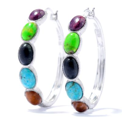 "130-105 - Gem Insider Sterling Silver 1.25"" Multi Color Oval Turquoise Hoop Earrings"