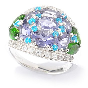 130-106 - Gem Insider Sterling Silver 2.68ctw Iolite & Multi Gemstone Dome Ring