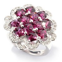 SS BRAZ GARNET WHITE SAPP FLOWER RING