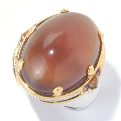 130-109 - Men's en Vogue II 25 x 18mm Sumatran Fluorescent Amber & Multi Gemstone Ring