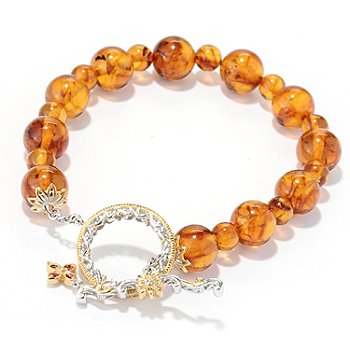 130-110 - Gems en Vogue II 8'' Baltic Amber Bead & Orange Sapphire Toggle Bracelet
