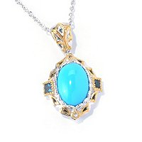 SS/PALL PEND SLEEPING BEAUTY TURQUOISE & PRINCESS LBT w/ CHAIN