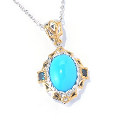 130-111 - Gems en Vogue II Sleeping Beauty Turquoise, London Blue Topaz & White Sapphire Pendant