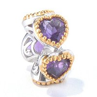 SS/PALL CHARM FIVE HEART-SHAPED AMETHYST