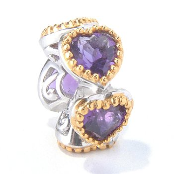 130-112 - Gems en Vogue II 1.75ctw Amethyst ''Five Hearts'' Slide-on Charm