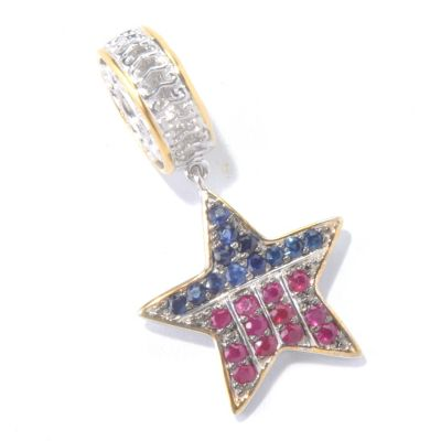 130-113 - Gems en Vogue II Sapphire & Ruby USA Star Drop Charm